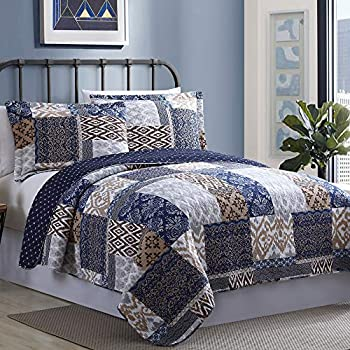 Image of Amrapur Overseas Laura 100% Cotton (3 Piece) Printed Reversible Quilt Set, King, Navy/Rust Home and Kitchen