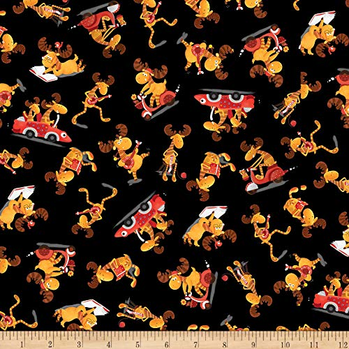 QT Fabrics Moose On The Loose Moose Toss Fabric, Black, Fabric By The Yard