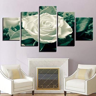 5 piezas rosas blancas hoja verde arte de la pared pintura cuadros impresión en lienzo flor la imagen para el hogar decoración moderna marco listo para colgar: Bricolaje y herramientas
