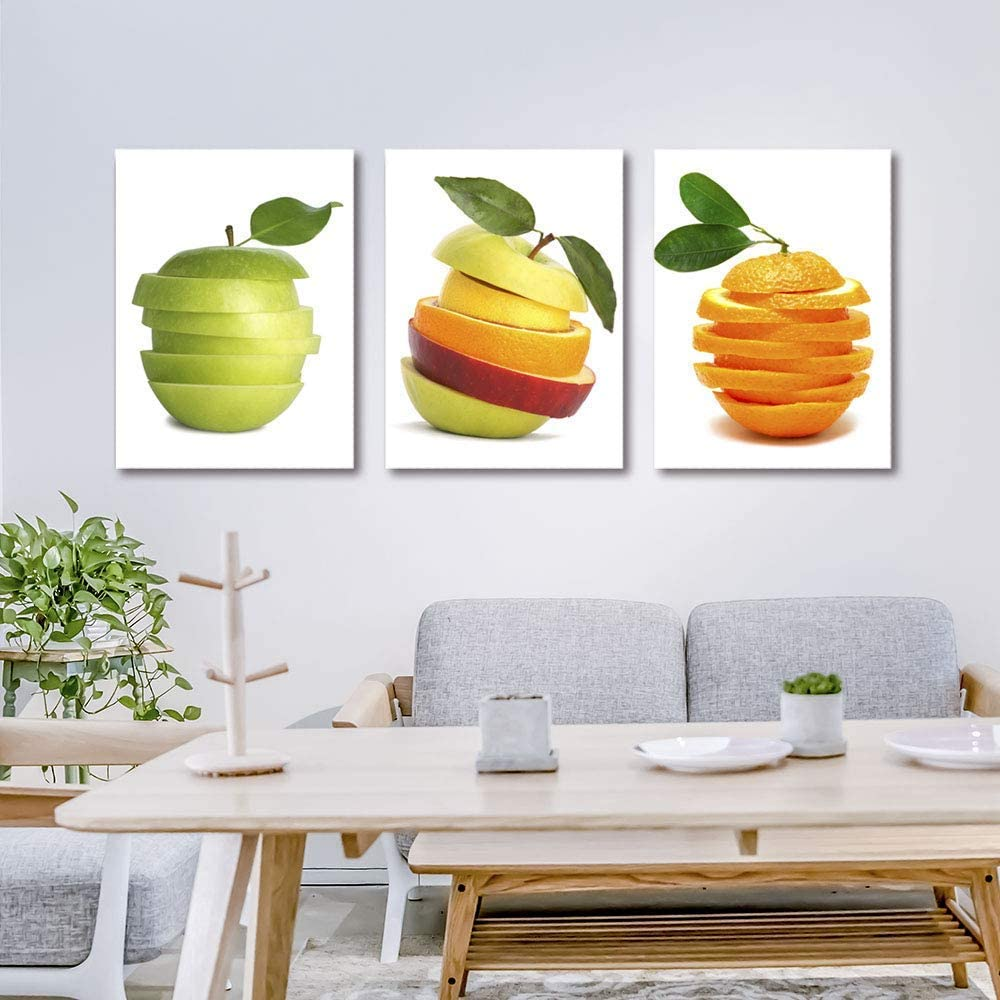 Purple Verbena Art Orange Apple Fruits Slice Design Photo Canvas prin Wall Decor Paintings Giclee Artwork for Kitchen Home Wall Decoration 3pcs/Set Stretched and Framed 16 x 24 Inches