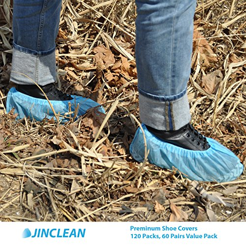 JINCLEAN Premium Shoe Covers 120Packs (60Pairs) | One Free Size Fits Most Max Length - 16.5'', Large US Men's 11 or less, Boots Covers, Water Resistant, Elastic on Sole Reduced Slip Technology by JINCLEAN (Image #2)