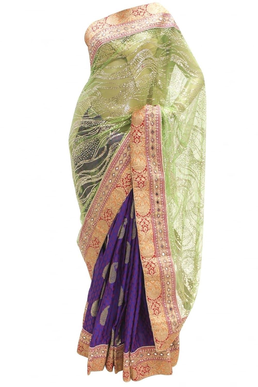 RUBS2408 Eye Catching Indigo & Brown Party Saree Bollywood Indian Designer Party Sari Saree