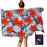 TUONROAD Kids & Adults Packable Travel Beach Swimming Towel Unique Cool Hawaiian Tropical Leaves Bright Red Peony Flowers Microfiber Bath Towels Custom Novelty Yoga Mat Blankets for Swimmers Surfer