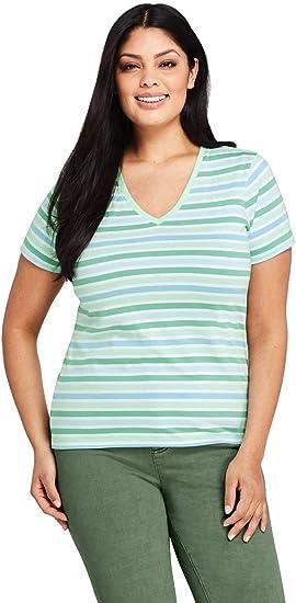 Women/'s Lands End Striped  V Neck T Shirt 1X