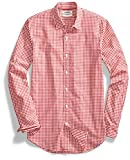 Goodthreads Men's Standard-Fit Long-Sleeve Gingham Shirt, Red/White, Large