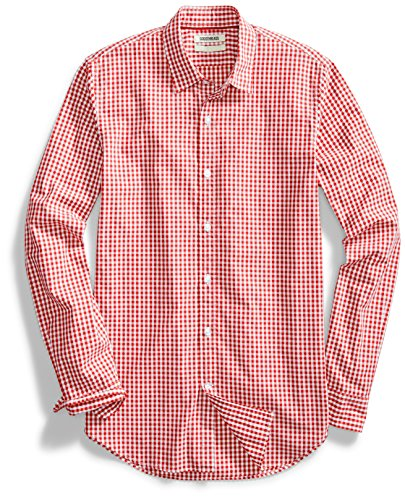 Goodthreads Men's Standard-Fit Long-Sleeve Gingham Shirt, Red/White, X-Large ()