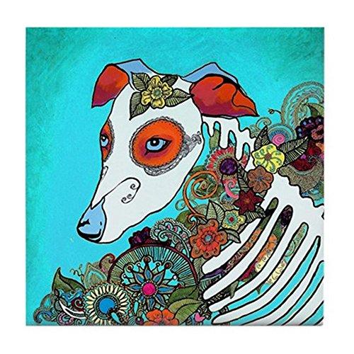 - CafePress - Dia Los Muertos, Day of The Dead Dog - Tile Coaster, Drink Coaster, Small Trivet