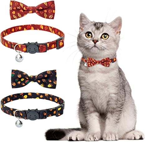Adjustable Soft /& Comfy Dog Bow Tie for Puppies Black+Apricot PU Leather Cat Collar with Bell Generous,Fashion,4 Colors Andiker Cat Leather Collar with Bowtie