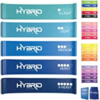 Hybrid Resistance Bands | PREMIUM Set of 5 Strength Levels | Skin Friendly Loop Bands for Training, Physical Therapy, Stretching, Home Gym | Exercise Guide and Carry Bag for Men and Women