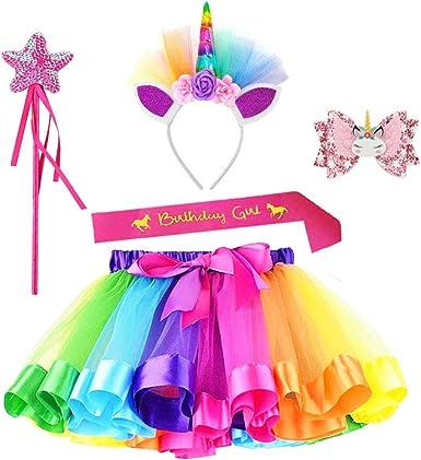 JaosWish - Juego de disfraz de unicornio con falda tutú para niñas ...