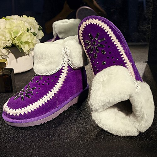 boots rhinestone NSXZ cuffed snow 120W booties Fur women's winter PURPLE wgn7AaPq