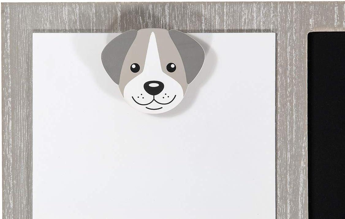 Appendere al Muro Designo di Cane in Legno Grigio e Bianco Decorazione da Parete SPOTTED DOG GIFT COMPANY Lavagnetta Cucina Combo Bacheca e Lavagna e Memo Board e Porta Foto