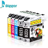 Bigger Ink Cartridge Replacement Compatible with Brother LC233 LC 233 LC-233 to use with DCP-J4120DW MFC-J4620DW MFC-J5320DW MFC-J5720DW (2 Black, 1 Cyan, 1 Magenta, 1 Yellow) 5 Pack