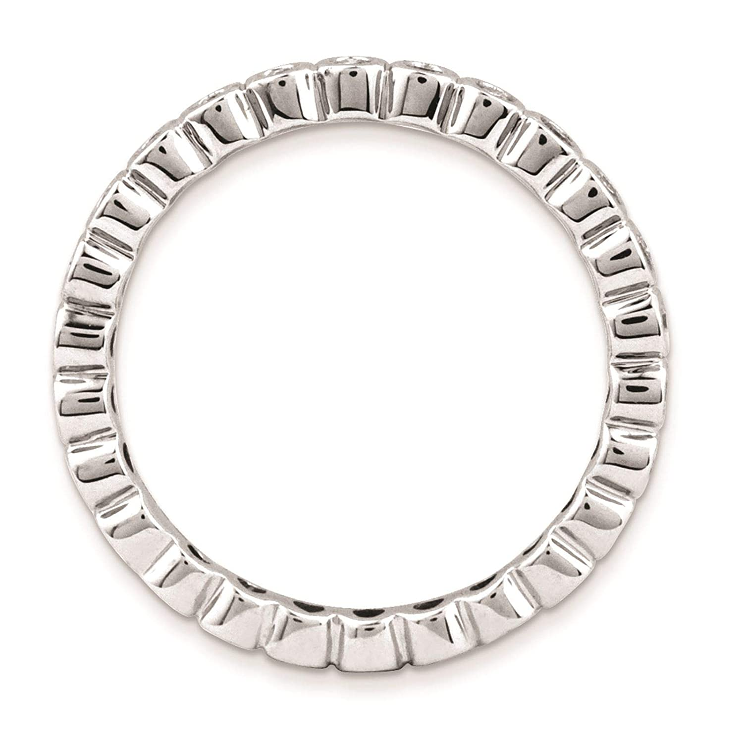 925 Sterling Silver Rhodium-plated Diamond Eternity Ring Band Size 5-10 by Stackable Expressions