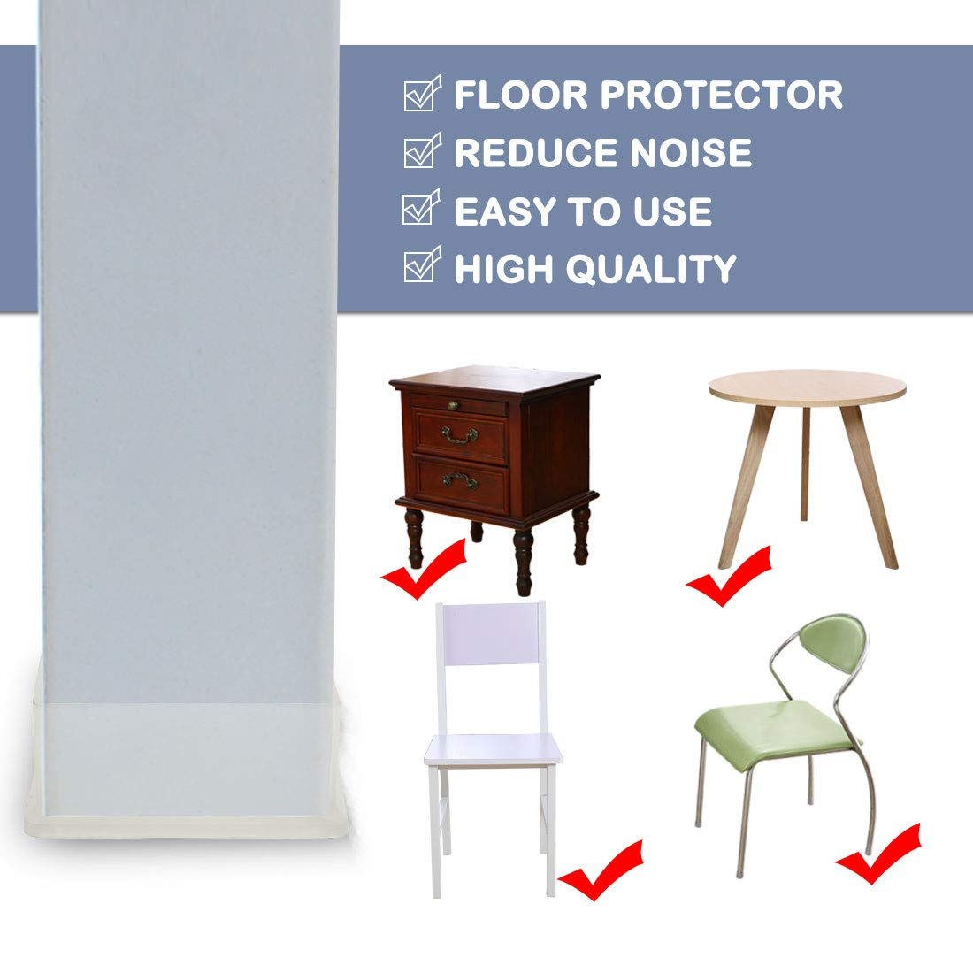 40x60mm Inner Size Reduce Noise Avoid Scratch a18073000ux0240 uxcell Clear PVC Chair Leg Caps End Tip Feet Cover Furniture Glide Floor Protector 18pcs 1.57 x 2.36