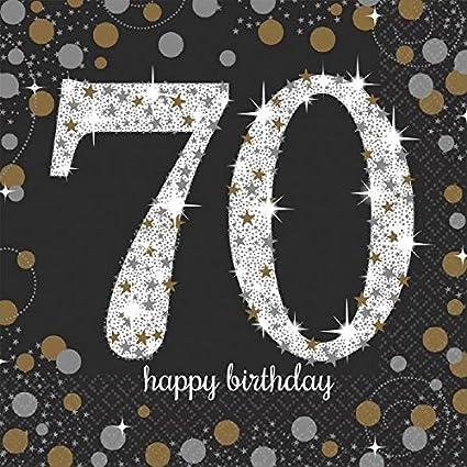 "16 Happy 70th Birthday Blue Sparkle 6.5/"" Party Tableware Napkins"