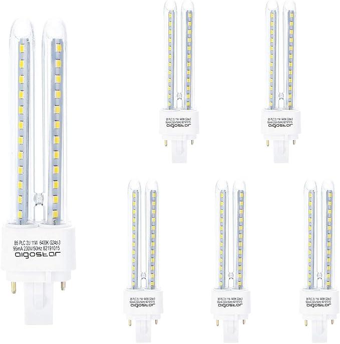 Aigostar- Pack de 5 Bombillas LED PLC 2U, tubo de11 W Maiz G24, Luz fría 6400K: Amazon.es: Iluminación