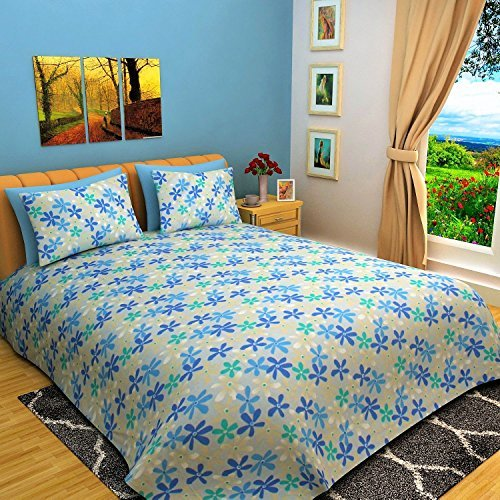 Bombay Dyeing Camellia 100% Cotton Double Bedsheet with 2 Pillow Covers-Blue by Bombay Dyeing