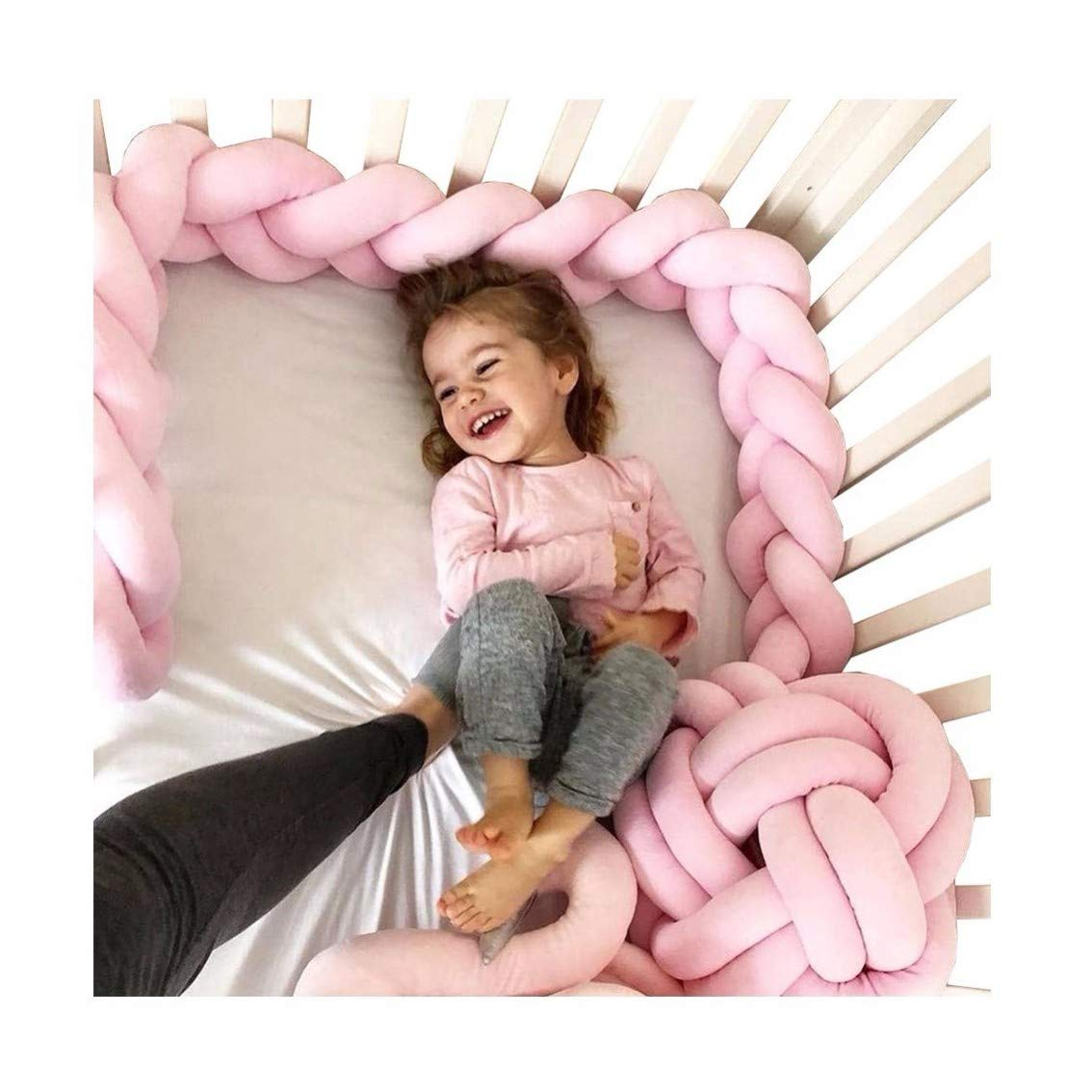 Baby Infant 1m/1.5m Crib Bumper Pads Knotted Braided Plush Nursery Bed Safety Rail Guard, Cradle Protector, Cot Sleep Bumper Pillow, Knot Ball, 3-Strand, Pure Color,Grey, 1.5m YWXJY