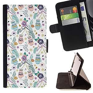 Momo Phone Case / Flip Funda de Cuero Case Cover - Vacances de Noël Teal - Samsung Galaxy A5 ( A5000 ) 2014 Version