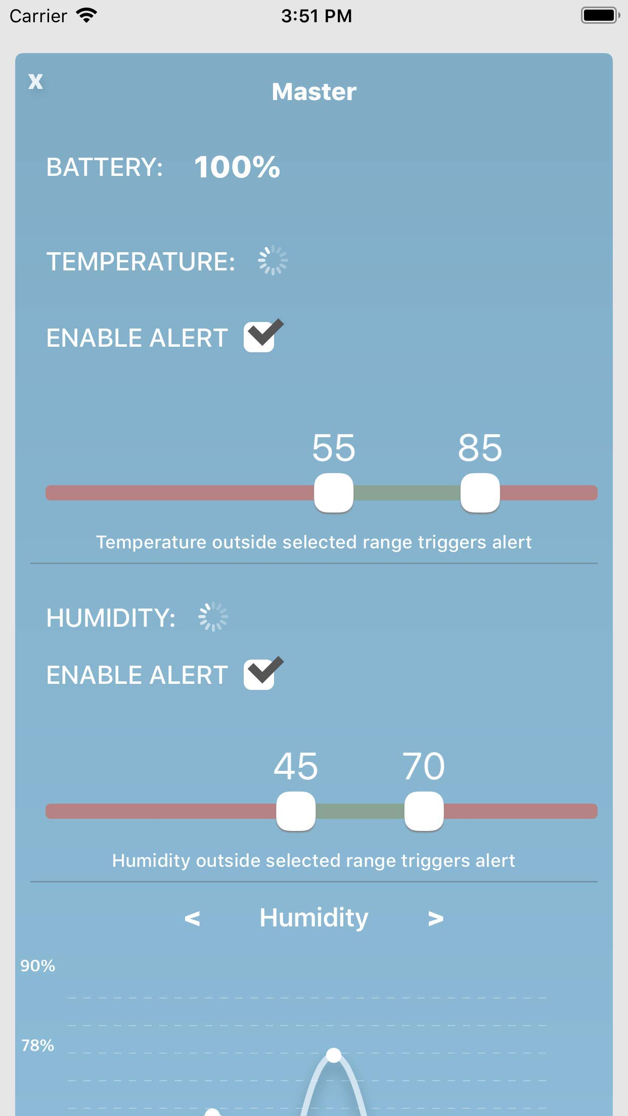 Moat Temperature & Humidity Wireless Smart Sensor for iPhone - iOS Thermometer/Hygrometer with alerts to Monitor The Ambient Climate in Your Nursery, Incubator, Fridge, and Any Other Room (2 Sensors) by Moat (Image #6)