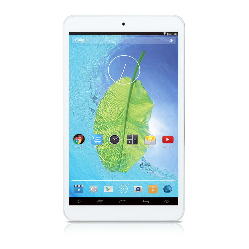 iRULU eXpro X1s IPS 8 inch Google Android 5.1 Lollipop Tablet PC, HD 1280800 Resolution, 1GB RAM, 16GB Flash, Bluetooth 4.0, Micro HDMI, Dual Cameras, 3D Games Supported, White Back (Plastic Rear)