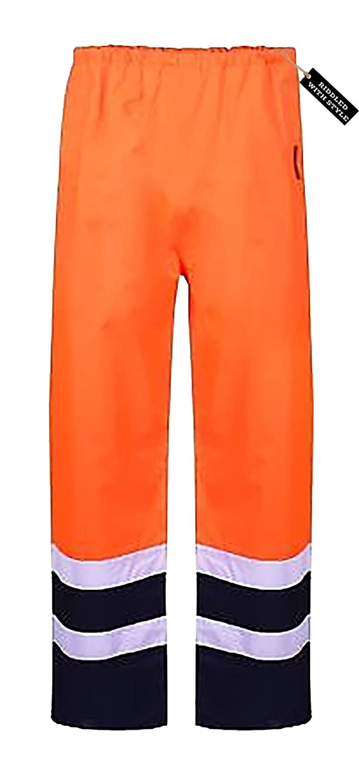 Hi Viz Vis Safety Waterproof Rain Cover Trouser RIDDLED WITH STYLE