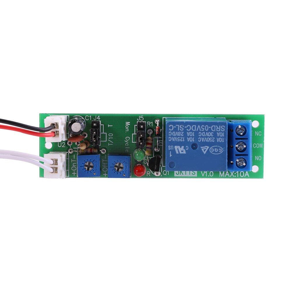 DC 5V 12V 24V Adjustable Cycle Trigger Delay Timing Timer Relay On/Off Switch(DC24V 0-30min Adjustable) Walfront