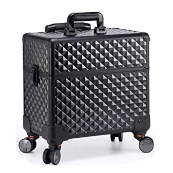 Amazon.com : Cosmetics Beauty Trolley Case Travel Makeup box Storage Hairdressing Organiser for Salon, Beauty Studio, Professional Makeup Artist Black : ...