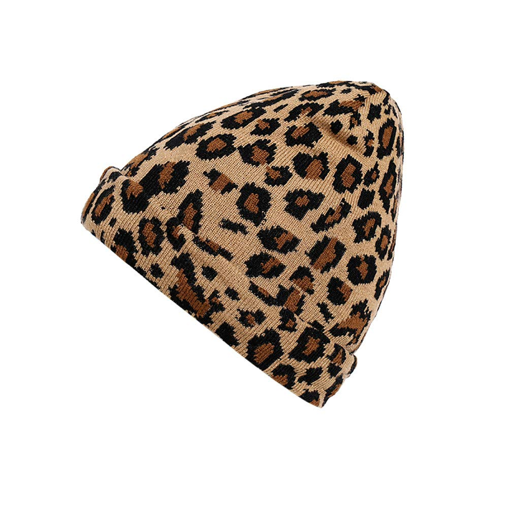 Respctful ♪☆ Hat Clearancesales,Women Fashion Leopard Print Soft Stretch Cable Knit Warm Hat Outdoor Hat