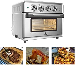 SAFER US-DESIGN 26.4qt Air Fryer Oven, 8 in 1 Multi-function 360° Air Circulation Toaster Oven with Free Oven Gloves 60 Minutes Timing Temperature Control Glass Window 4 Layer Shelves 14 Types of Recipes