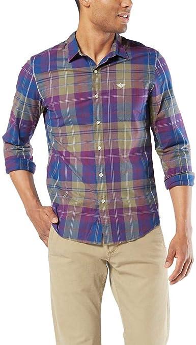 Dockers Long Sleeve Original Button Down Washed Shirt Camisa Abotonada para Hombre