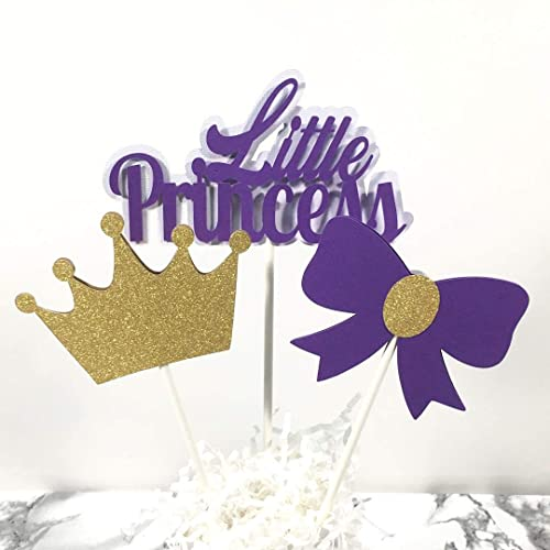 little princess baby shower centerpiece sticks cake toppers purple and gold