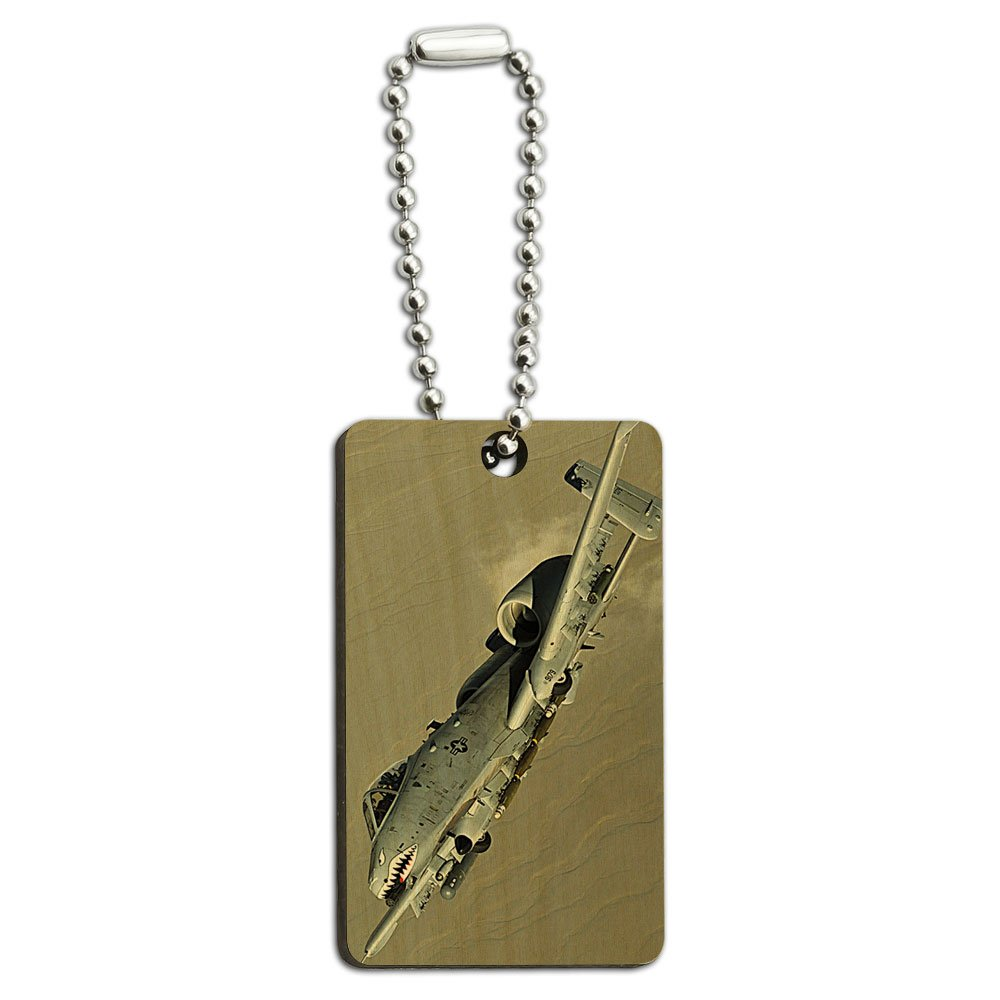 US Airforce A-10 Warthog Wood Wooden Rectangle Key Chain