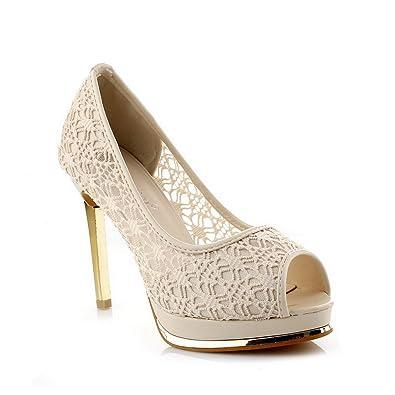 75075904016b3f BalaMasa Damen Offene Zehen lederanziehschlaufen An Massivem High-Heels  Pumps-Shoes