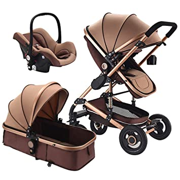 Creproly High Landscape Luxury Baby Stroller Shockproof Foldable Infant Pushchair With Car Safety Seat Combo Travel