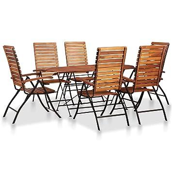 vidaXL Bois d\'Acacia Massif Ensemble de Mobilier de Jardin 3 ...