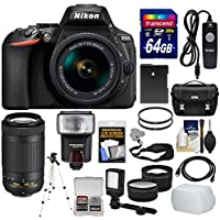Nikon D5600 Wi-Fi Digital SLR Camera & 18-55mm VR DX AF-P + 70-300mm VR AF-P Lens + 64GB Card + Case + Flash + Video Light + Battery + Tripod Kit