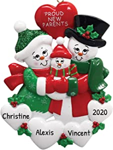 Personalized Proud New Parents Christmas Tree Ornament 2020 - Happy Two Snowman Mom Dad Couple Love Baby Shower Boy Girl Gender Neutral Holiday Congratulation Welcome God Bless - Free Customization