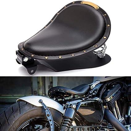 GZYM Si/ège Solo en Cuir Moto si/ège de Moto avec Base de Ressort pour Bobber Sportster XL1200 883 48 Dyna Softail Fatboy Noir