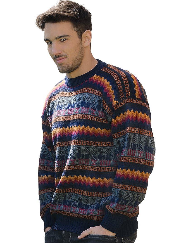 a2efb0778f18 Gamboa - 100% Alpaca - Genuine Sweater for Men - Fire Colors at ...