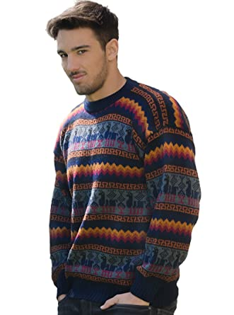 a098e7d0ed3a73 Gamboa - Genuine Alpaca Sweater for Men - Fire Colors at Amazon ...