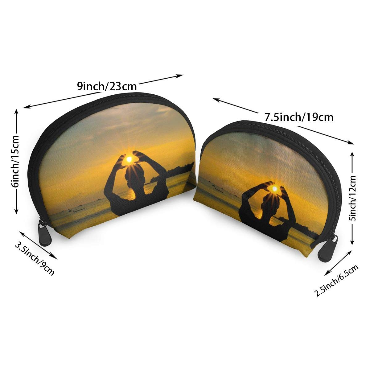 HJDKFIW Personalized Sunset and Back Womens Shell Shape Carrying Case Organizer Bag Gift 2Pcs