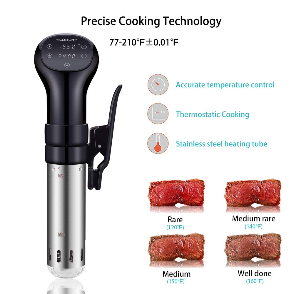 Precise Immersion Circulator Sous Vide Cooker, LCD Touch Screen, Accurate Time and Temperature Control, 800 Watts, Durable Stainless Steel Stick, Ultra Quiet, Black by US PIEDLE (Image #4)