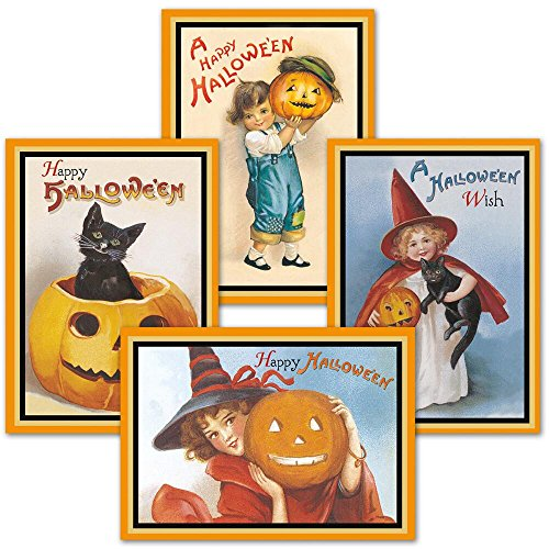 Victorian Halloween Cards- Set of 8 Holiday Greeting