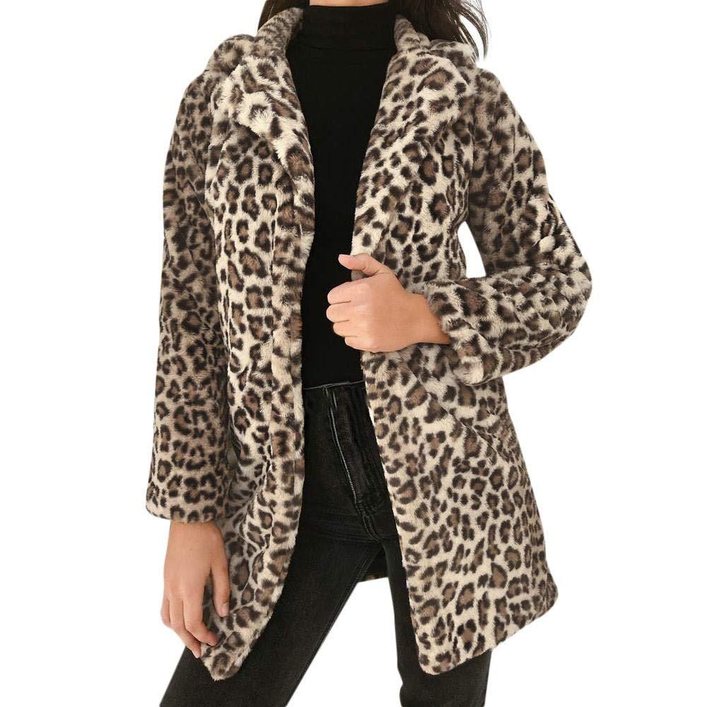 Redshop Women Leopard Sexy Winter Warm Faux Fur Coat Cardigan Outwear Parka Jacket
