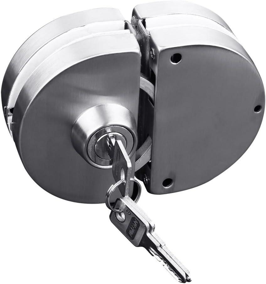 Zhi Jin paso de acero inoxidable con llave de bloqueo de puerta corredera empuje puerta para 10–12mm puerta de cristal oficina casa