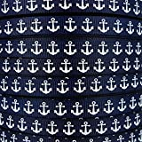 "50yds 3/8"" Nautical Anchor Printed Navy Blue Grosgrain Ribbon Hairbow Craft Supplies"