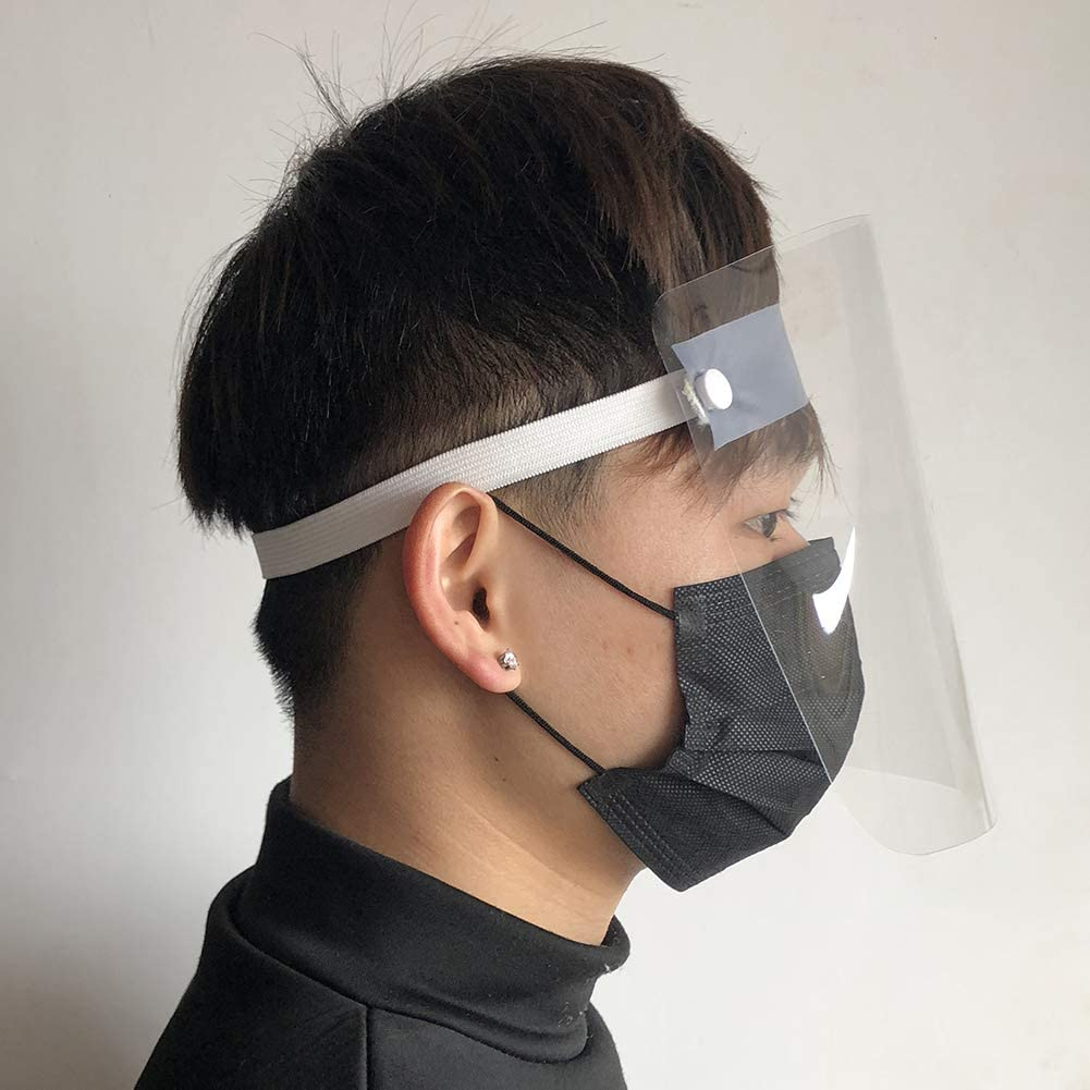 Bleu Vakind Capuchon de Protection Transparent /Écran Facial de Protection Int/égrale Anti-bu/ée Anti /éclaboussures dhuile pour Enfant Adulte 25 20cm
