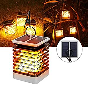 Solar Powered Flickering Flame Light 75 LED Outdoor Wall Lamp Outdoor Garden Tree Decoration
